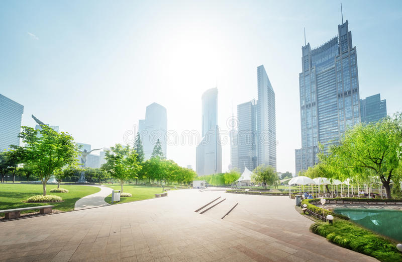 Park in lujiazui financial center, Shanghai, China. Asia royalty free stock photo