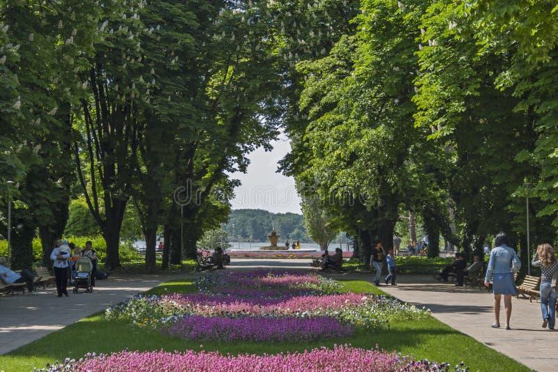 Park met bloemen op het centrum van stad van Silistra, Bulgarije royalty-vrije stock foto