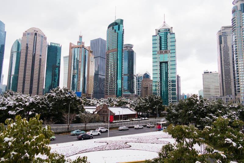 Park met bomen en weg met sneeuw wordt door wolkenkrabbers in het Pudong-gebied wordt omringd behandeld dat Shanghai, China stock afbeelding