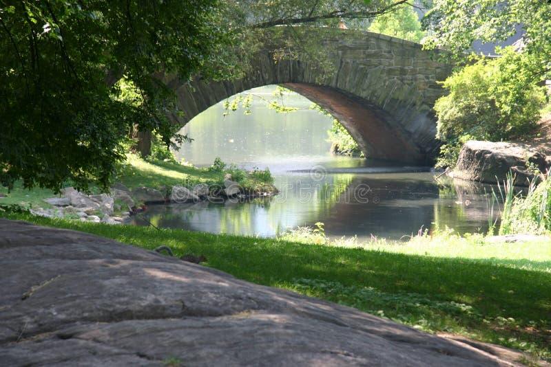 Park met brug en rivier stock afbeelding