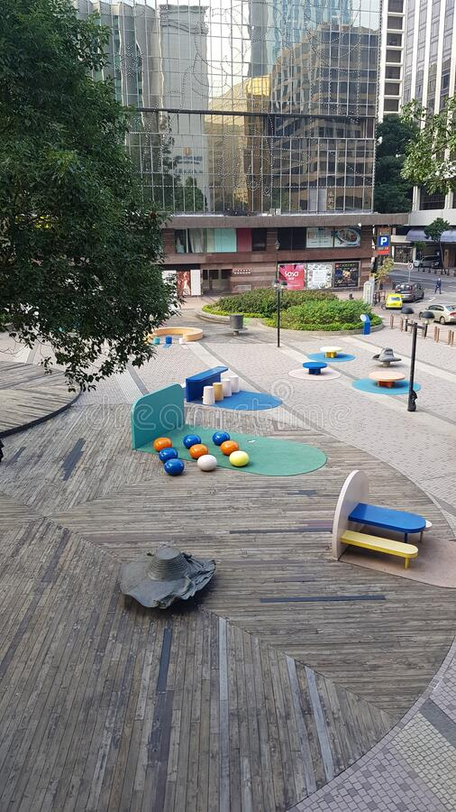 Park miejski w Kowloon Hongkong niedaleko portu fotografia royalty free