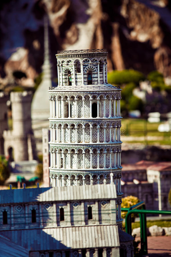 Park of miniature in Rimini, Italy. This reconstruction in miniature of the leaning tower of Pisa, Italy stock images