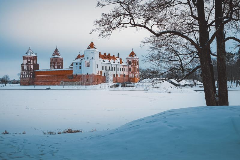 Park in Mir-gemeente, het gebied van Grodno, Wit-Rusland stock foto