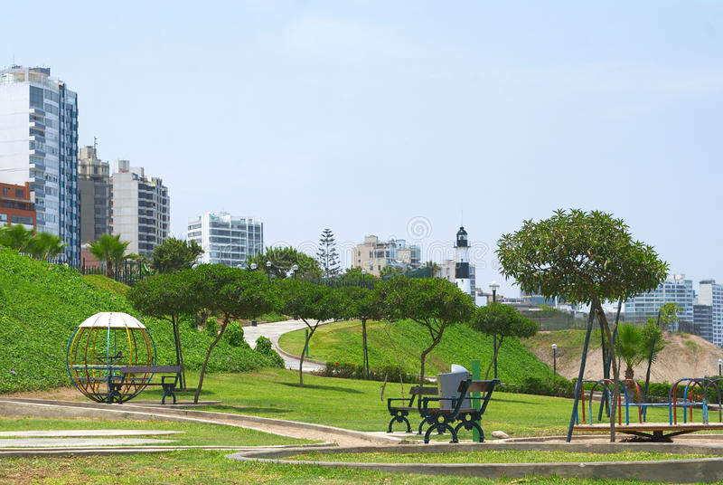 Park in Miraflores, Lima, Peru. Park and residential buildings on the Costa Verde (Green Coast) in Miraflores, Lima, Peru stock photography