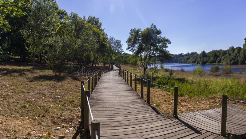 Park by Monção SPA and Minho river, Portugal stock photography