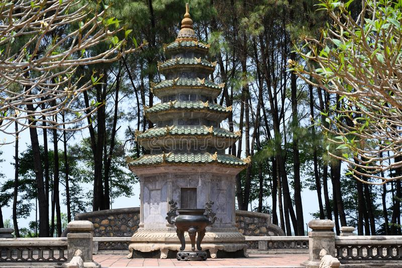 In the park of the monastery of Thien Mu Pagoda, Hue, Vietnam royalty free stock image