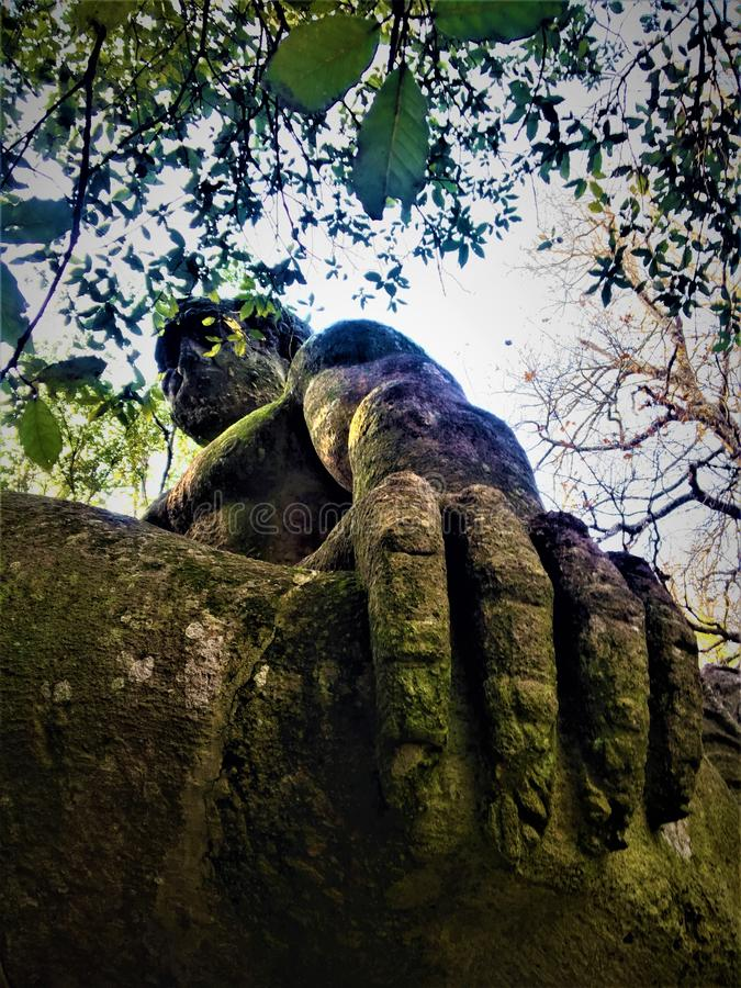 Park of the Monsters, Sacred Grove, Garden of Bomarzo. The Giant Hercules. Park of the Monsters, Sacred Grove, Garden of Bomarzo, a Manieristic monumental royalty free stock images