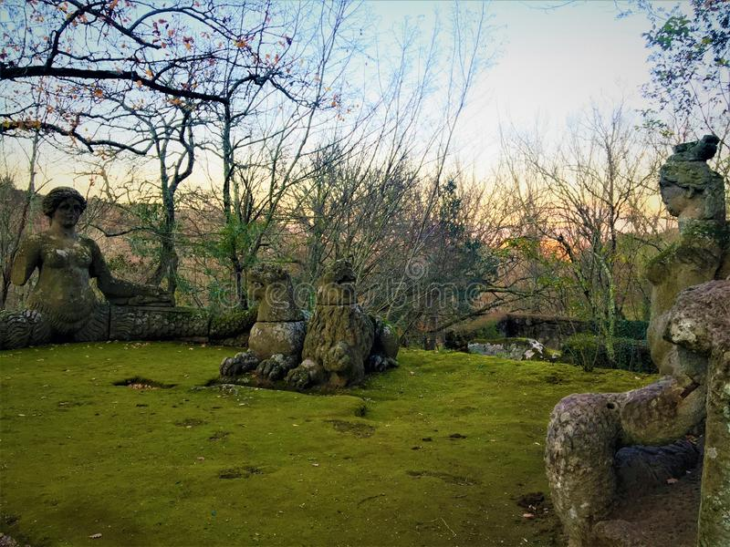 Park of the Monsters, Sacred Grove, Garden of Bomarzo. Lion and lioness rest between the two sirens, alchemy stock images