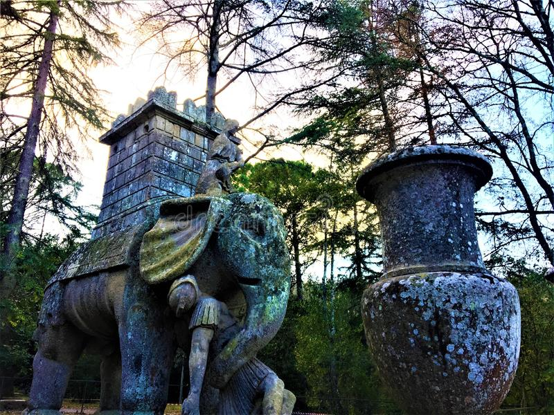 Park of the Monsters, Sacred Grove, Garden of Bomarzo. Hannibal`s elephant and alchemy. Park of the Monsters, Sacred Grove, Garden of Bomarzo, a Manieristic stock photos