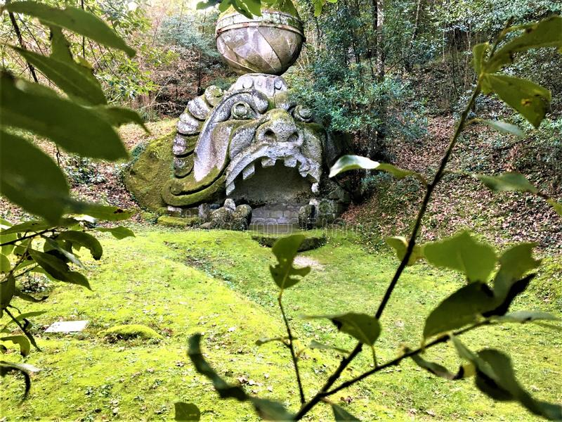 Park of the Monsters, Sacred Grove, Garden of Bomarzo. Proteus Glaucus and alchemy. Park of the Monsters, Sacred Grove, Garden of Bomarzo, a Manieristic royalty free stock photography