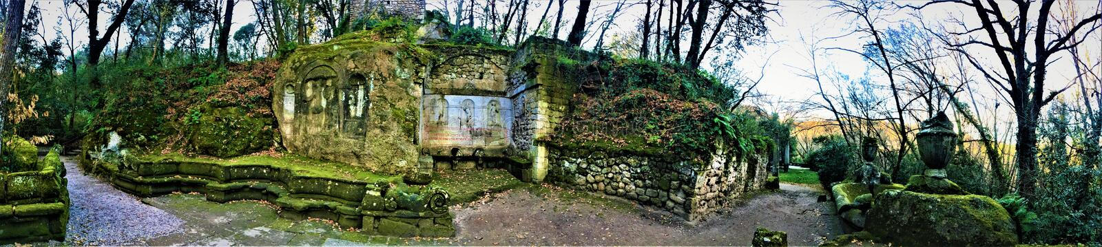 Park of the Monsters, Sacred Grove, Garden of Bomarzo. Surreal nature alchemy. Park of the Monsters, Sacred Grove, Garden of Bomarzo, a Manieristic monumental stock photography