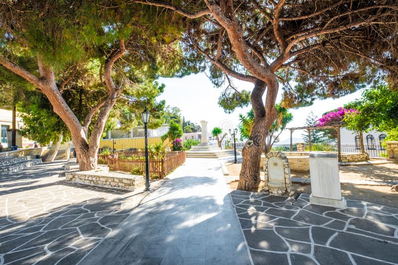 Park with monuments in Lefkes, Greece stock photo