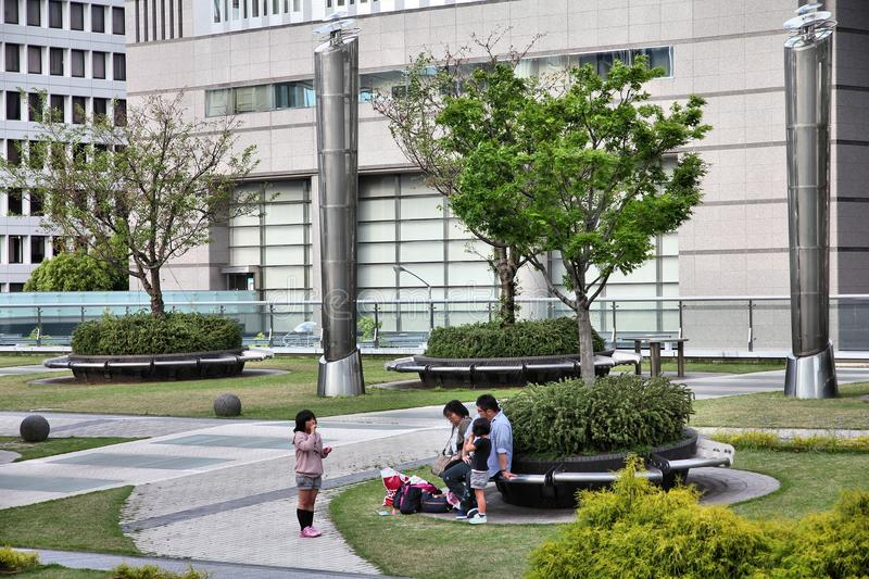 Park in Nagoya, Japan. NAGOYA, JAPAN - MAY 3, 2012: People visit Oasis 21 architecture complex in Nagoya, Japan. Oasis 21 has won multiple awards, including stock images