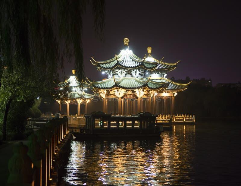 Park in Nantong China. Park at night along river in Nantong China royalty free stock photo