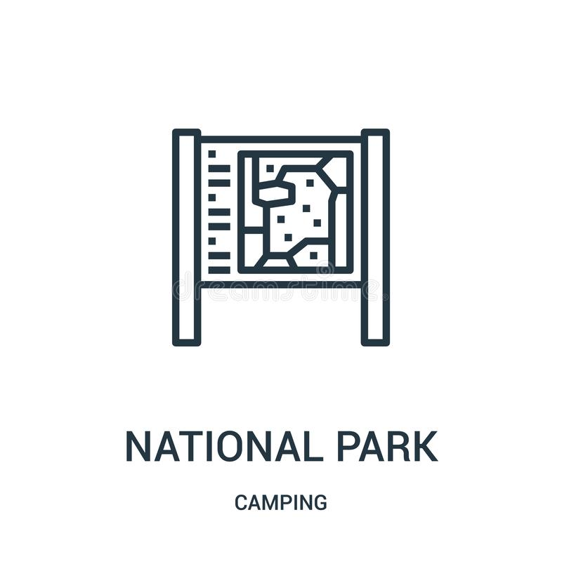park narodowy ikony wektor od campingowej kolekcji Cienka kreskowa parka narodowego konturu ikony wektoru ilustracja Liniowy symb ilustracja wektor