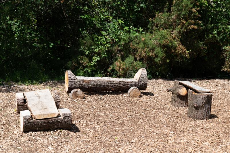 Park natural wood bench rustic outdoor. A park natural wood bench rustic outdoor stock photo