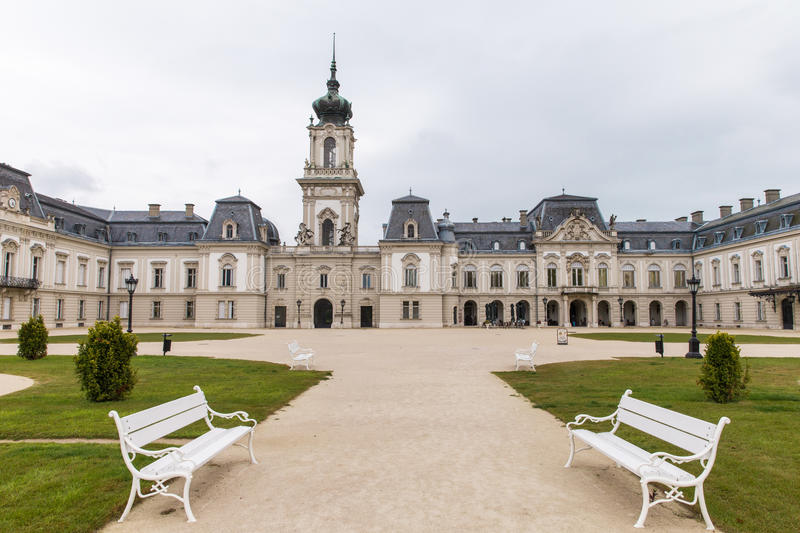 The park near the palace Festetics, Hungary. Baroque palace located in the town of Keszthely, Zala, Hungary. the Festetics Palace, a baroque palace in stock images
