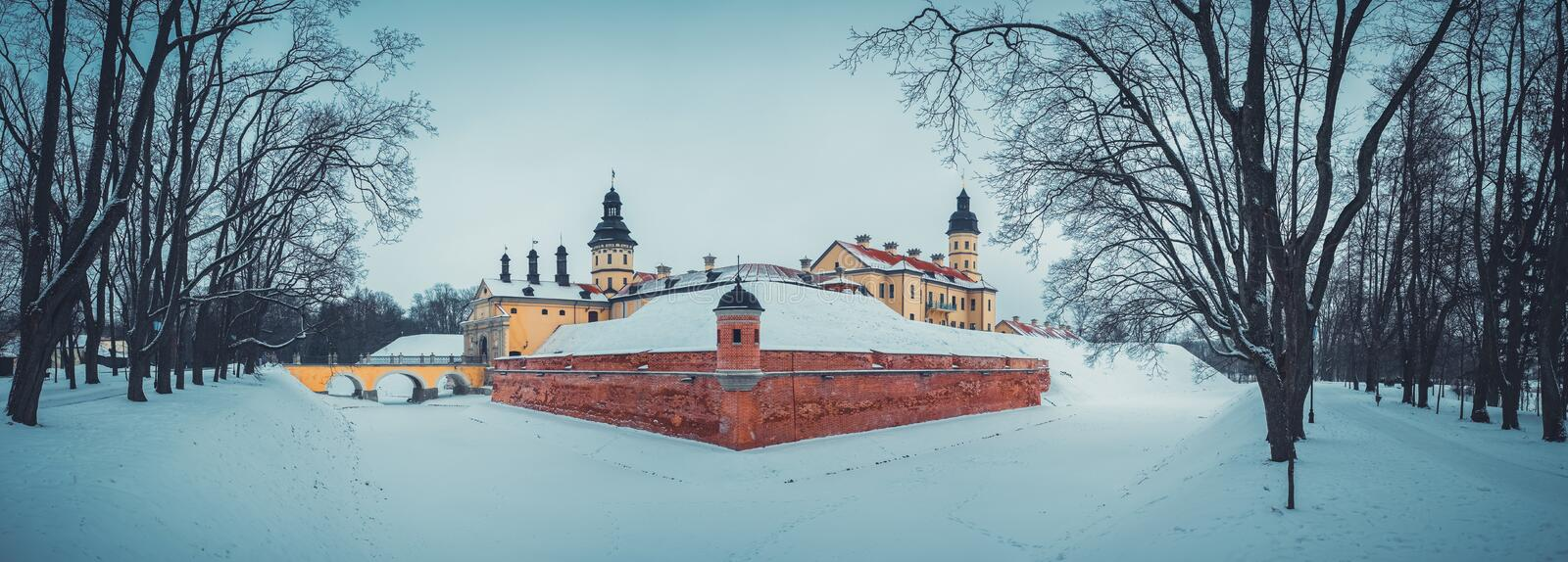 Park in Nesvizh city at winter, Belarus. royalty free stock images