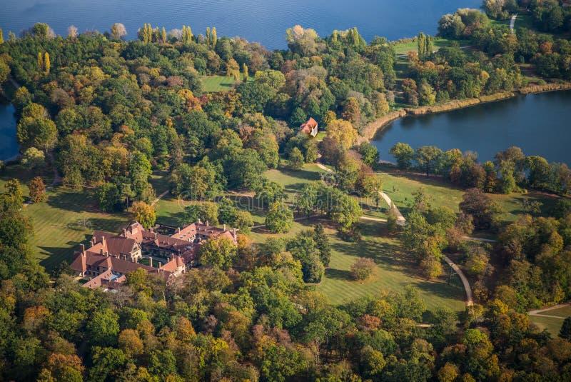 Park `New Garden` Neuer Garten  with Cecilienhof  Cecilienhof Palace in early autumn. Potsdam, Germany, Park `New Garden` Neuer Garten  with Cecilienhof stock photo