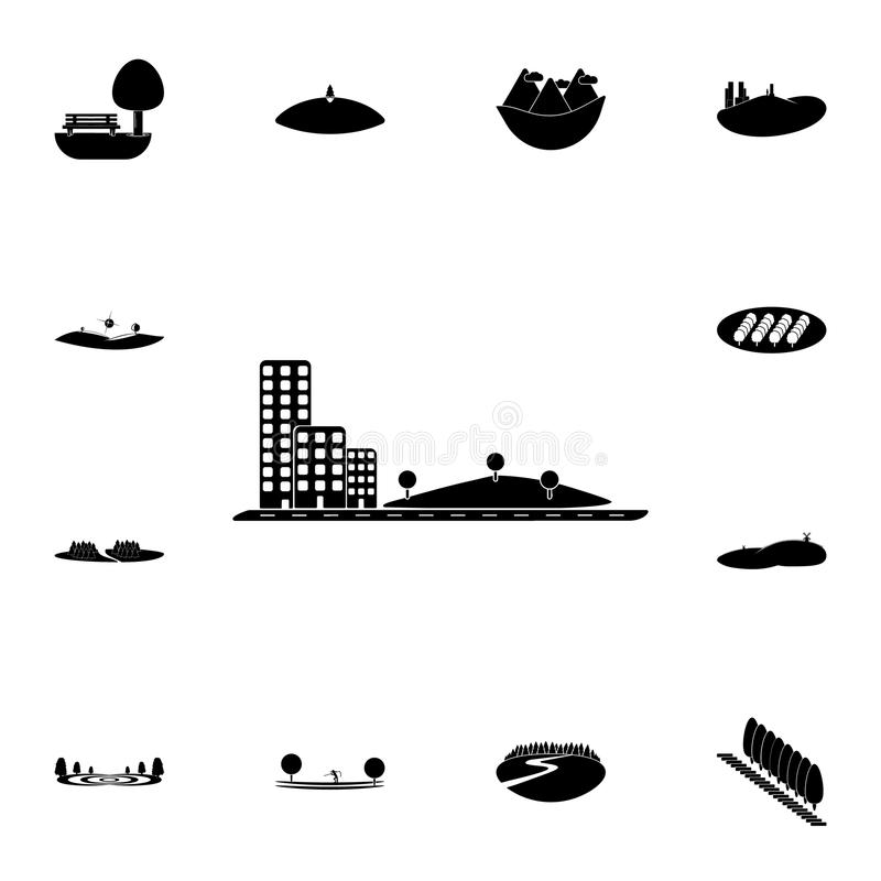 park next to apartment buildings icon. Detailed set of Park and landscape icons. Premium quality graphic design sign. One of the c royalty free illustration