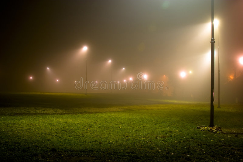 Download Park at night stock photo. Image of misty, light, mist - 1921064