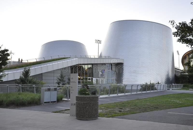 Montreal, 27th June: Park Olympic with Rio Tinto Alcan Planetarium from Montreal in Quebec Province of Canada. Park Olympic with Rio Tinto Alcan Planetarium from stock photo