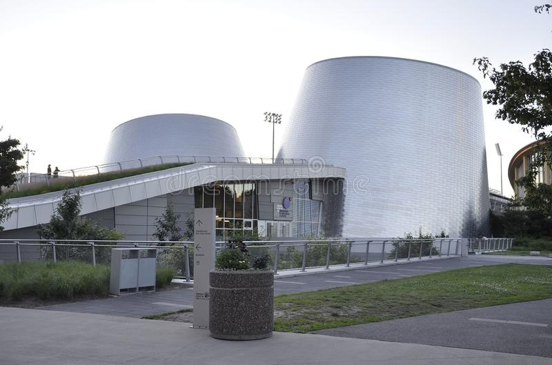 Montreal, 27th June: Park Olympic with Rio Tinto Alcan Planetarium from Montreal in Quebec Province of Canada. Park Olympic with Rio Tinto Alcan Planetarium from royalty free stock images