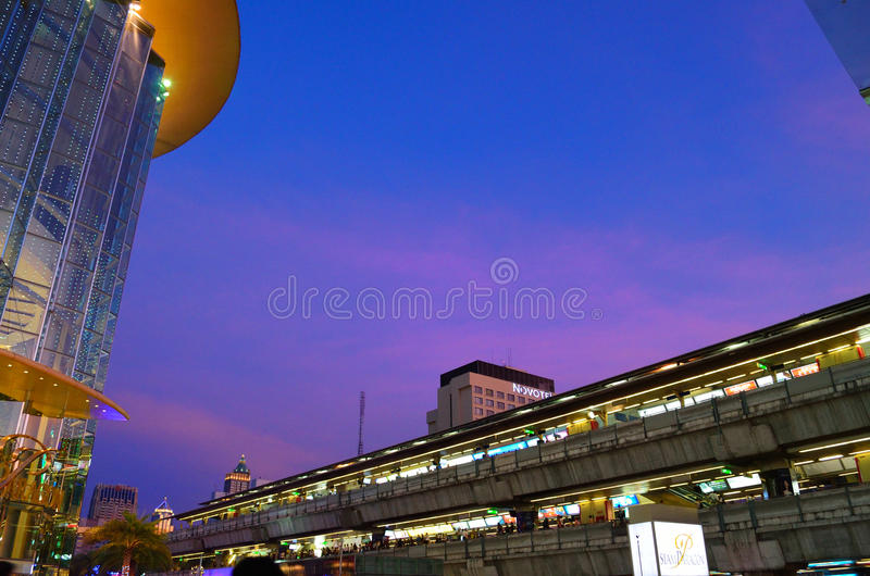 Download Park paragon and skytrain editorial stock image. Image of hotel - 23692734