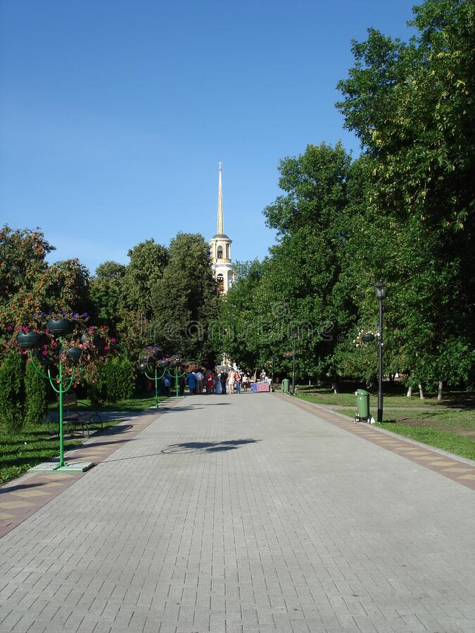Cathedral Park in Ryazan, Russia, summer 2015 stock images
