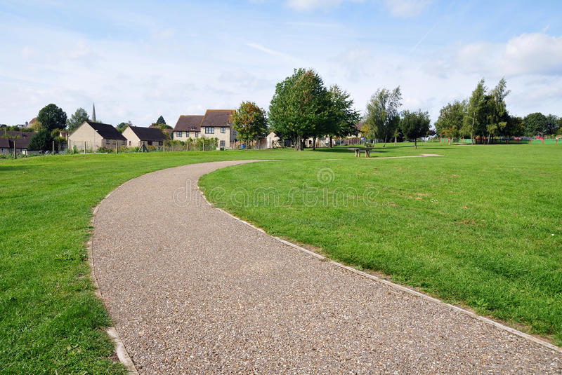 Park Pathway. Stone Pathway in a Lush Green Park royalty free stock photos