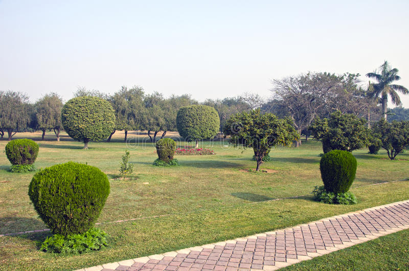 Park with pathway in New Delhi royalty free stock photography