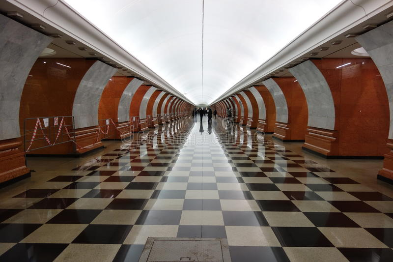 Park pobedy station, Moscow subway (metro), Russia royalty free stock photo