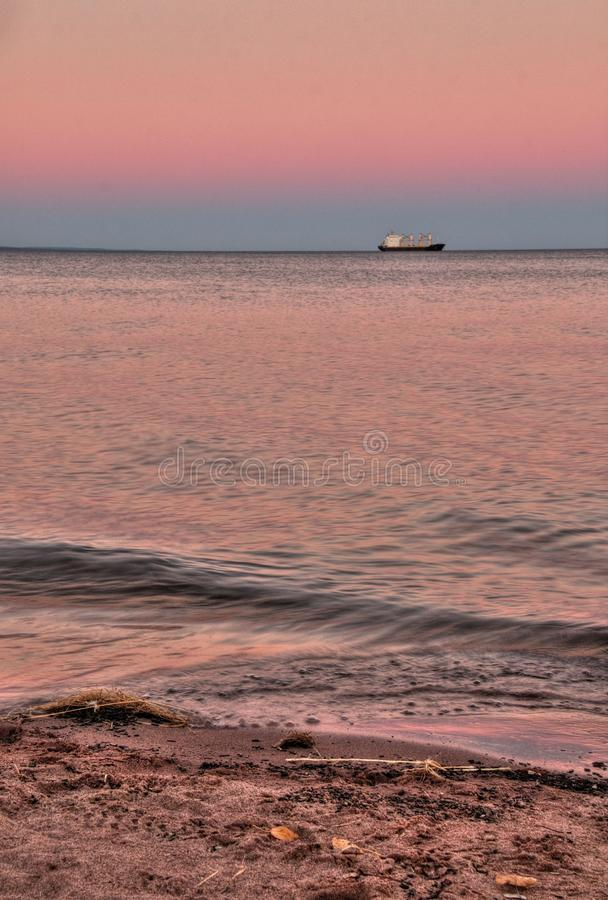 Park Point is a seven mile long White Sand Beach in Duluth, Minnesota on Lake Superior.  royalty free stock photo