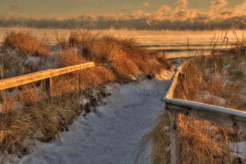 Park Point is a seven mile long White Sand Beach in Duluth, Minnesota on Lake Superior.  stock image