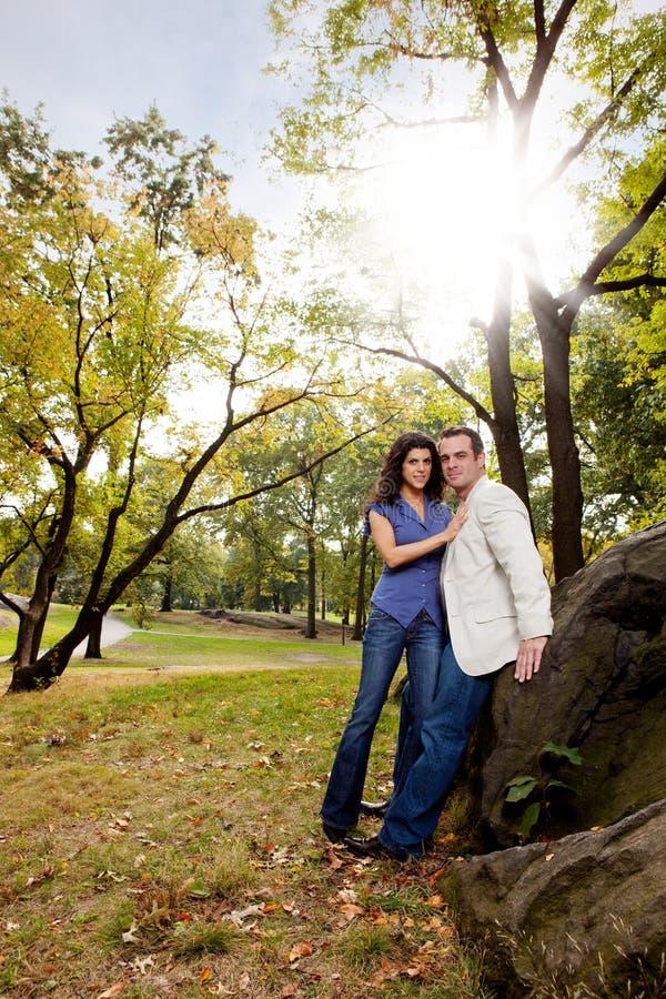 Park Portrait Engagement. A portrait of a happy couple in the park stock images