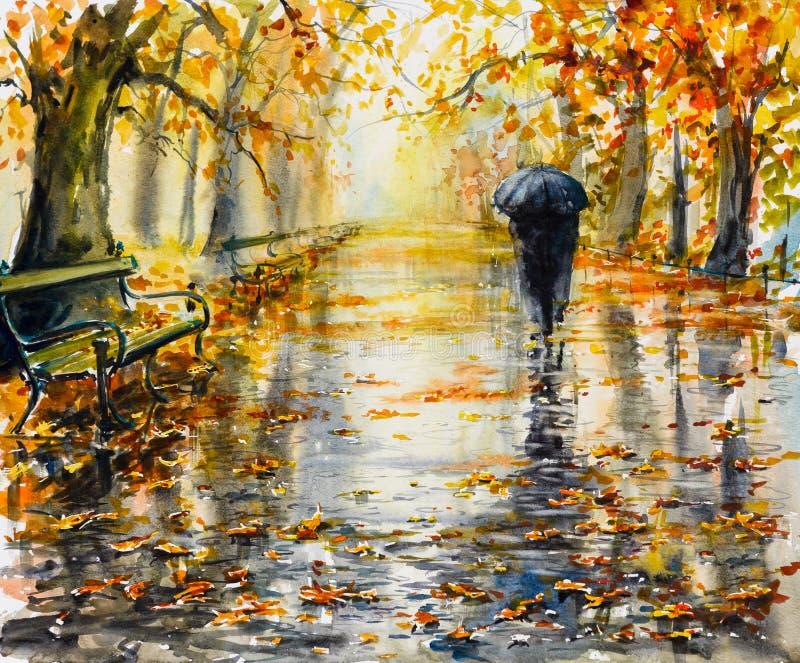 Park in rainy day. stock illustration