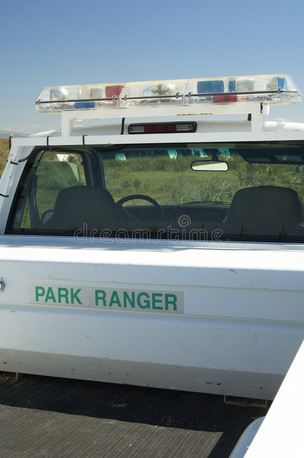 Park Ranger. Vehicle in a state park stock image