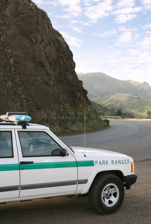 Park Ranger. Truck with mountain backdrop royalty free stock photography