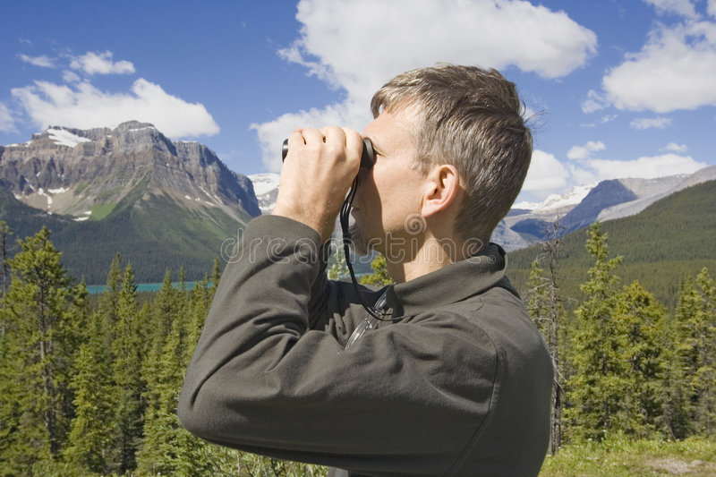 Park ranger in the rockies, canada stock image