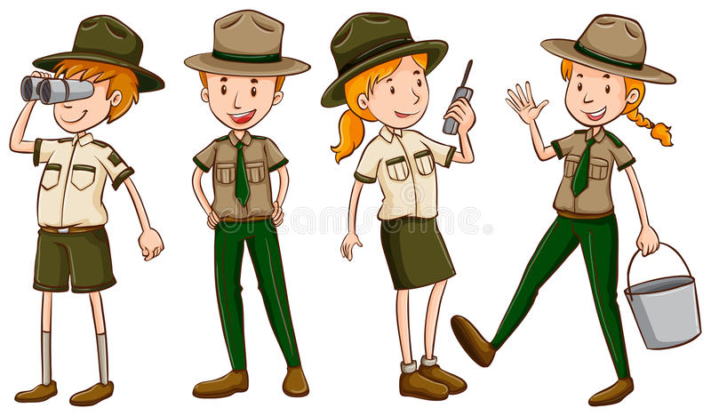 Park rangers in brown uniform royalty free illustration