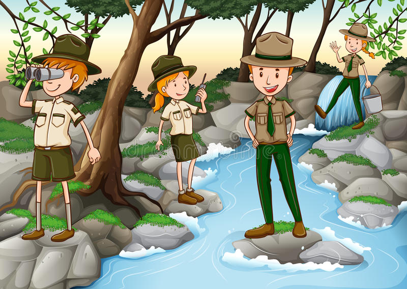 Park rangers working in the forest royalty free illustration
