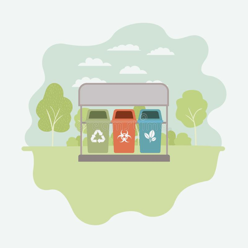 Park with recycle bins royalty free illustration