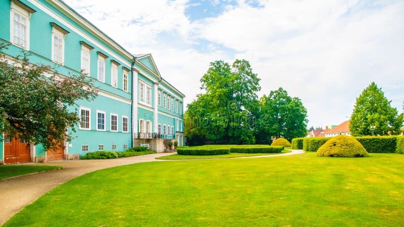 Park and renaissance chateau in Dacice, Czech Republic stock image
