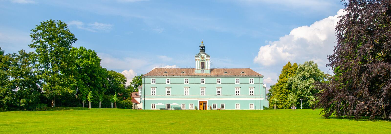 Park and renaissance chateau in Dacice, Czech Republic royalty free stock image