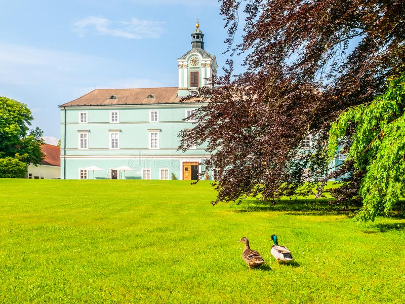 Park and renaissance chateau in Dacice, Czech Republic royalty free stock photography