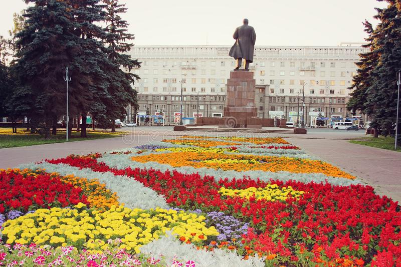 Park in the Revolution Square in the city of Chelyabinsk stock image