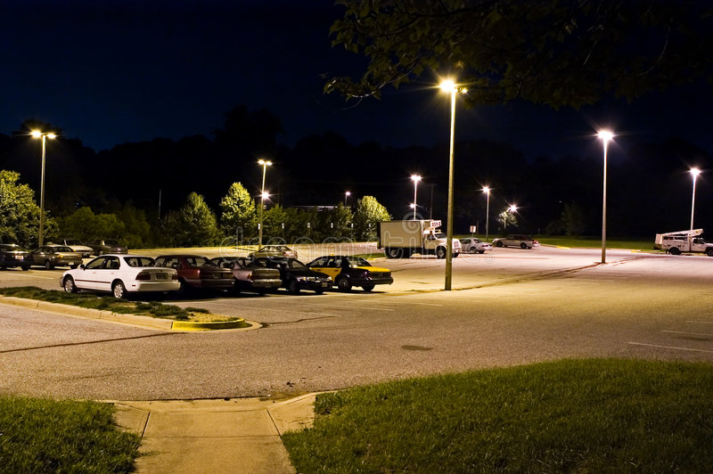 Park and Ride Lot at Night - 2 stock photo