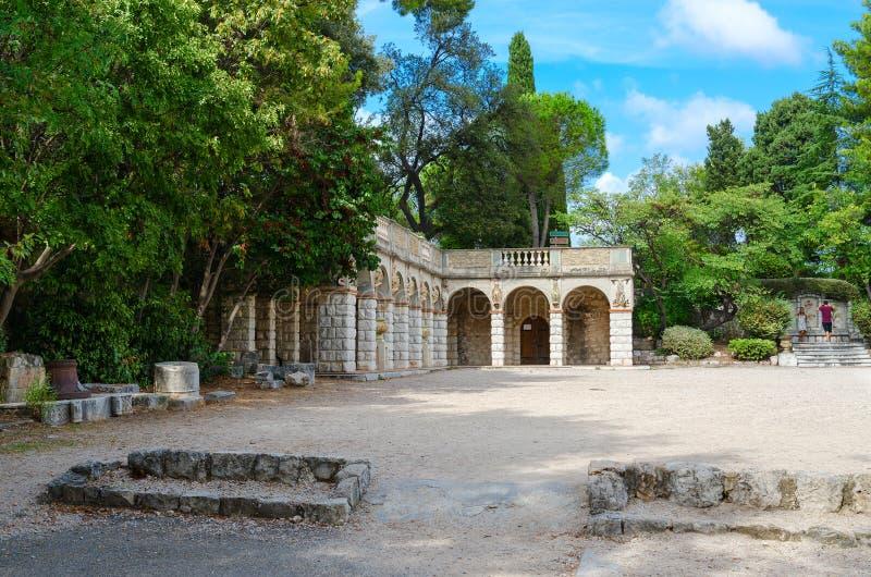 Park on Roman hill parc de la Colline du Chateau, Nice, Cote d`Azur, France royalty free stock photos