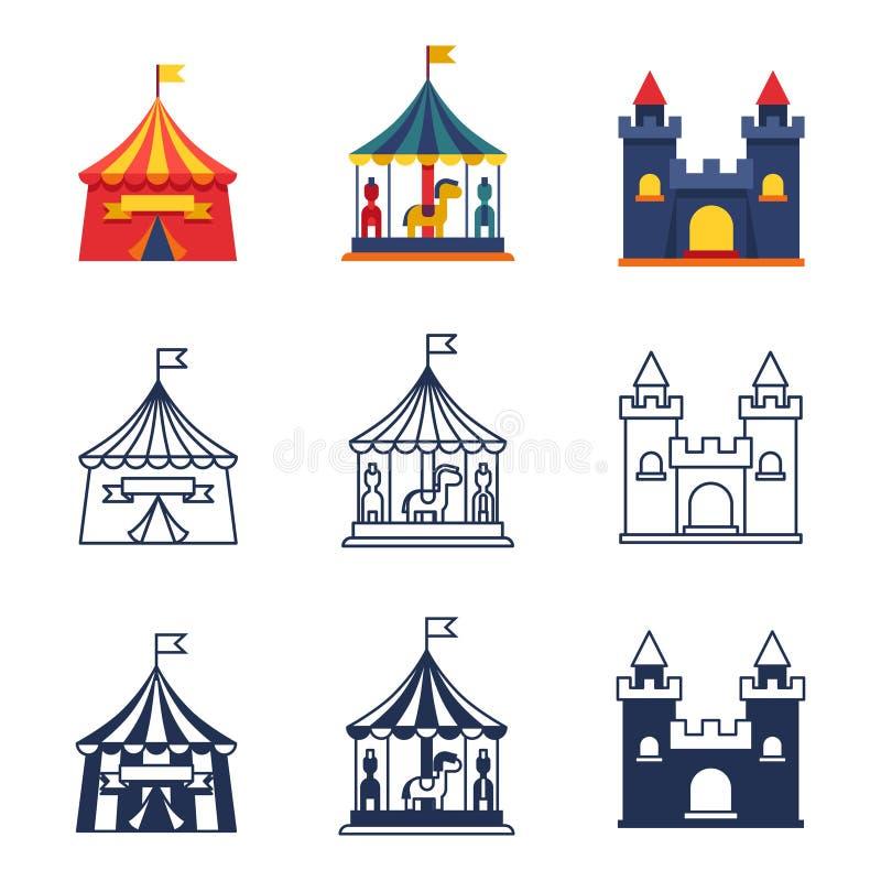 Park rozrywki cyrkowe karnawałowe ikony inkasowe ilustracji