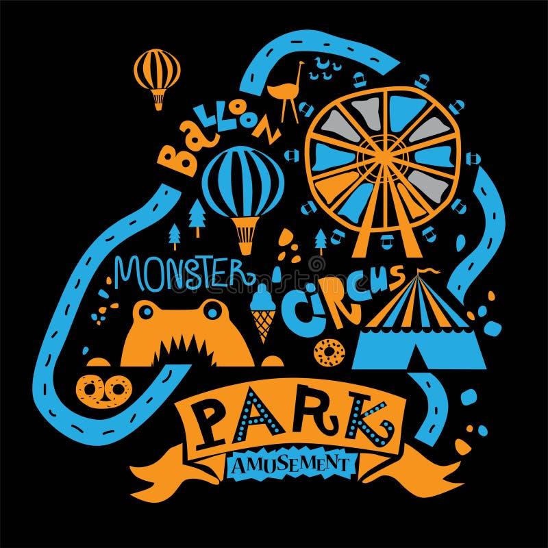 Park Rozrywki dla całej rodziny, przyciągania, chodzące ścieżki, staw i lody, kawa, Ferris koło, balon ilustracja wektor